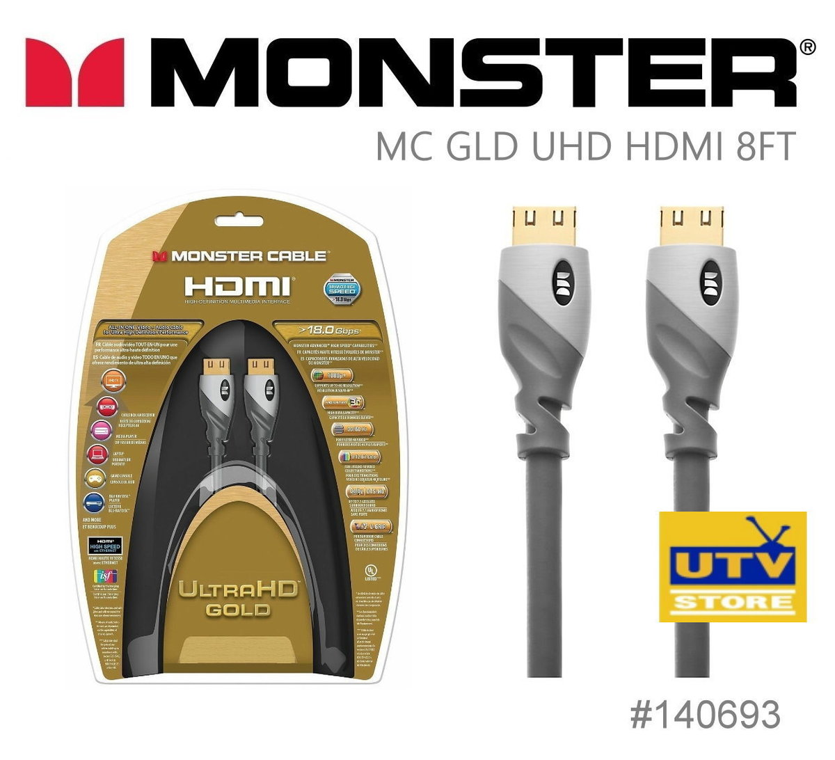 140693 UliraHD Gold HDMI Cable 2.43m / 8ft