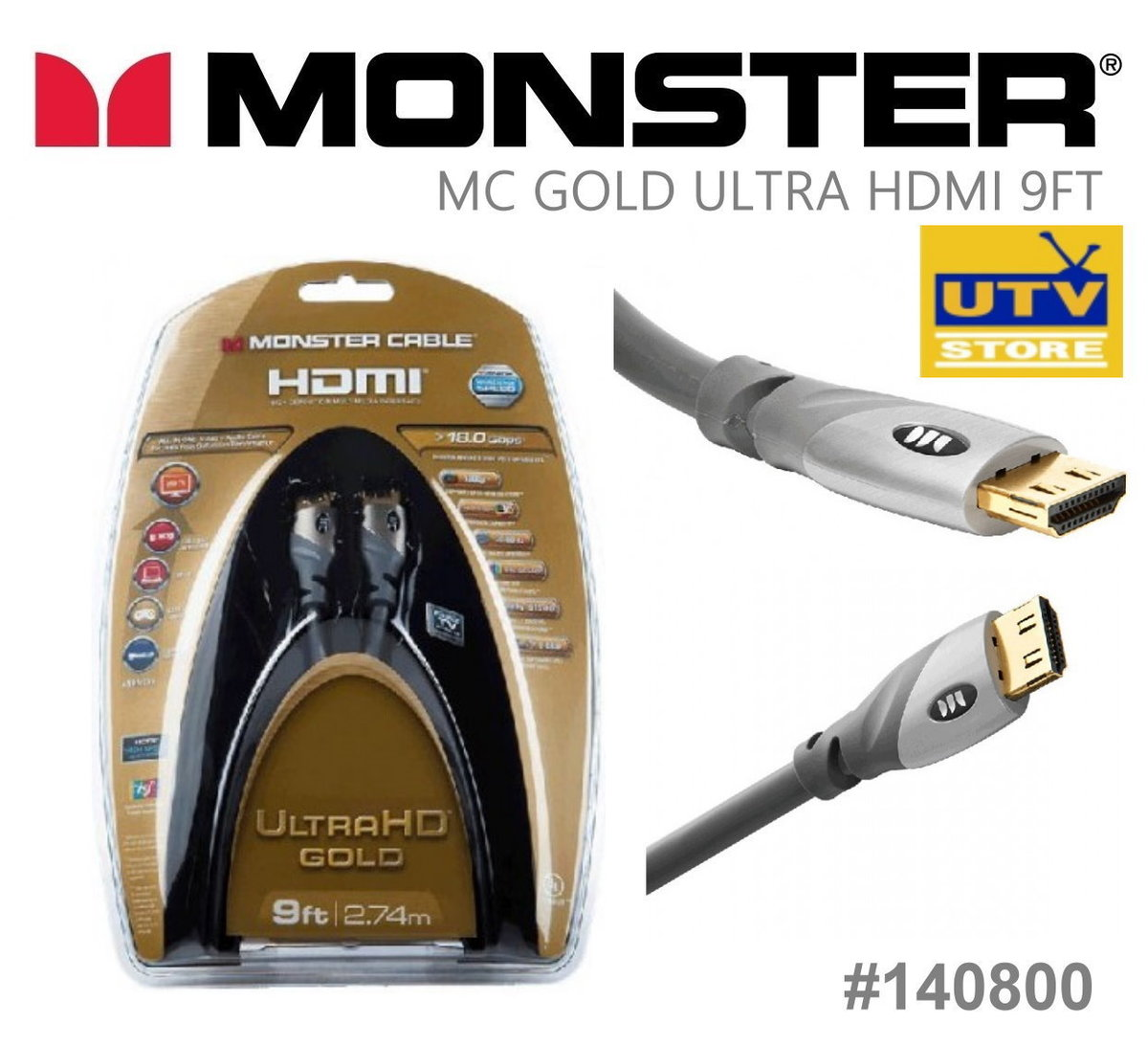 140800 UltraHD Gold HDMI Cable 2.74m / 9ft
