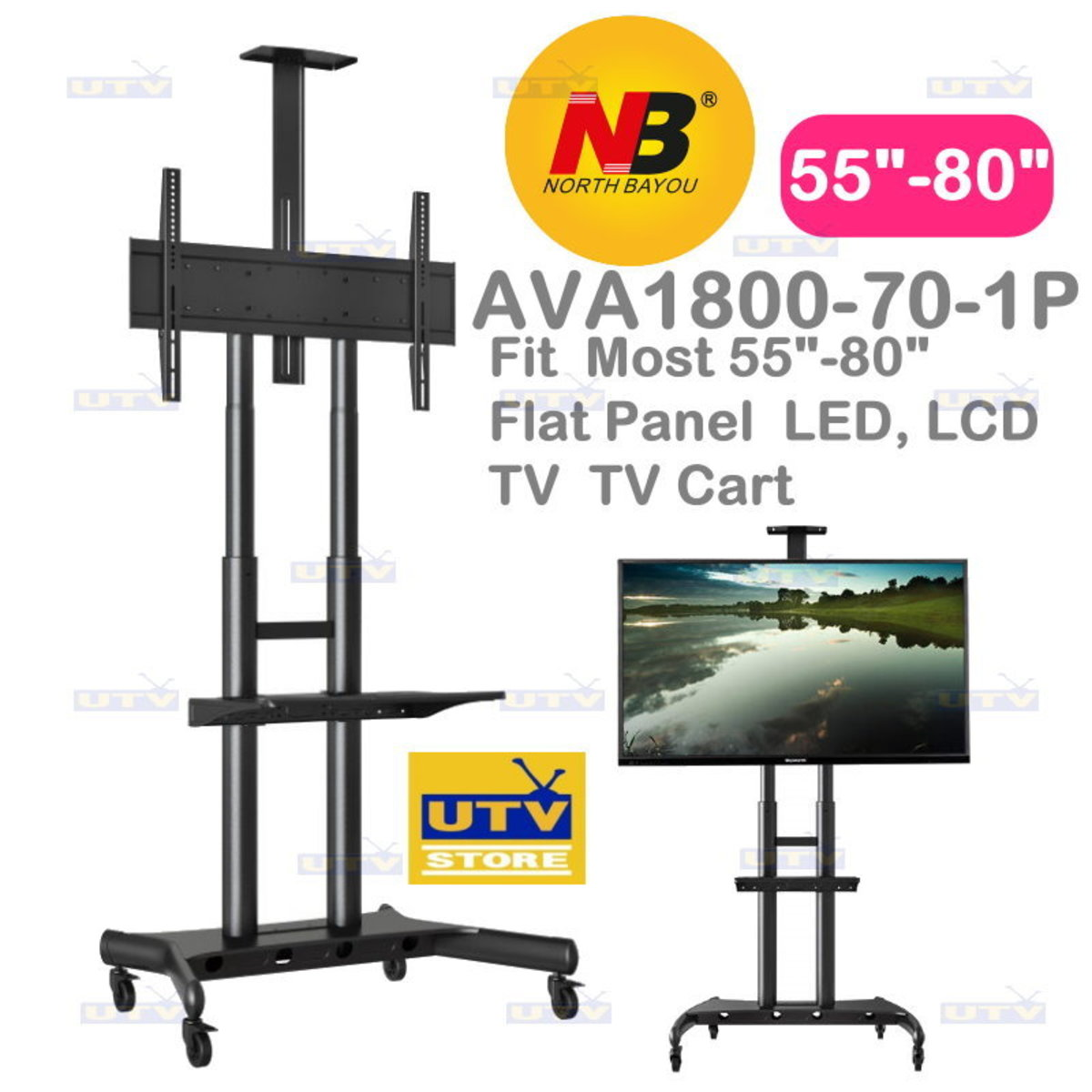 "AVA1800-70-1P Fit Most 55""-80"" Flat Panel LED, LCD TV TV Cart"