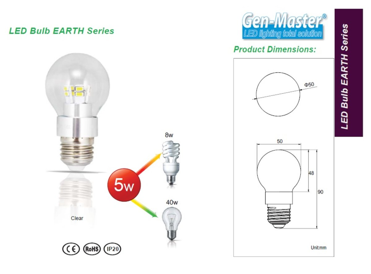 EARTH Series LED Bulb 5W 3000K Warm White E27 Clear
