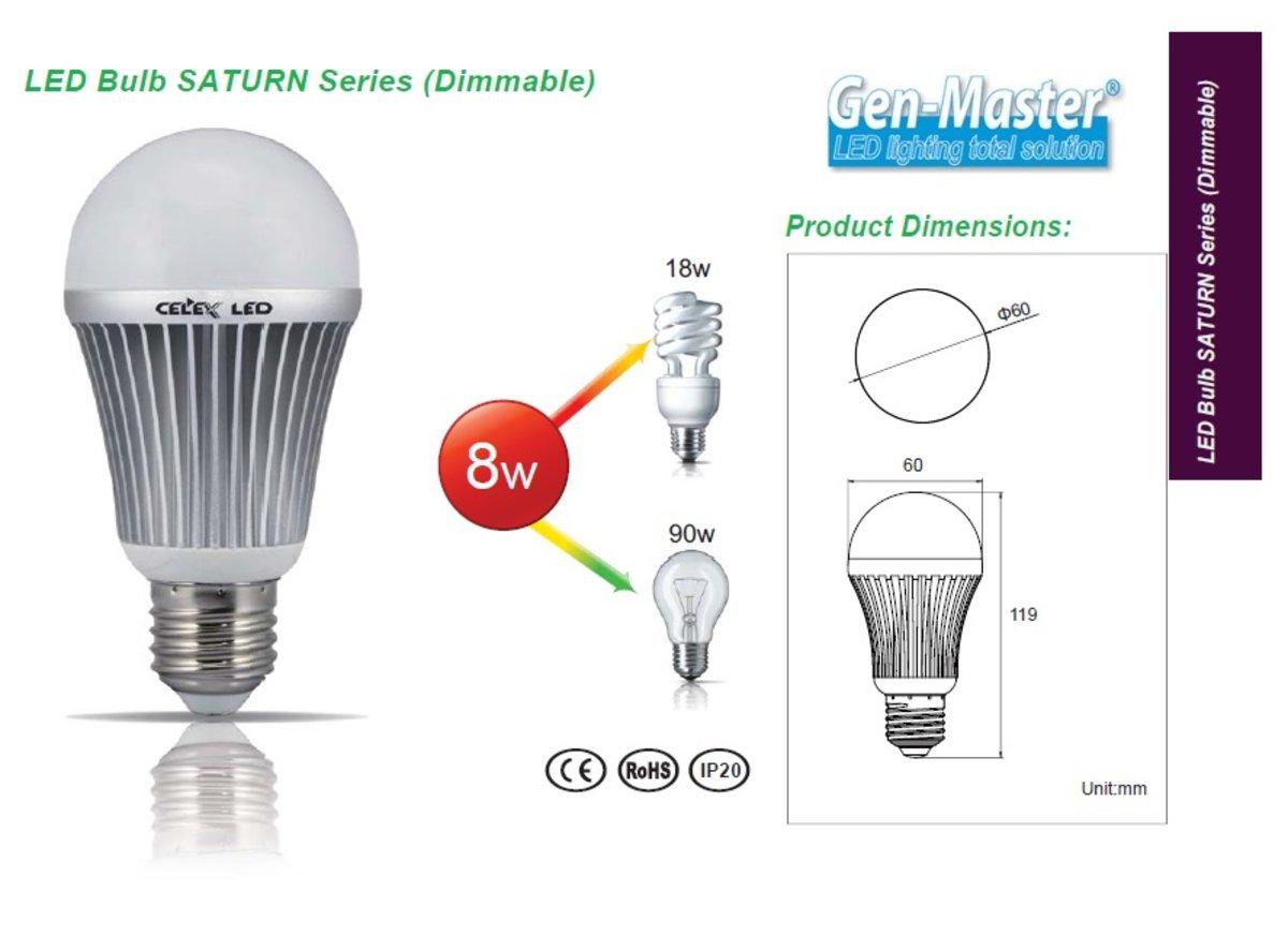 SATURN Series LED Bulb 8W Dimmerable 3000K Warm White E27
