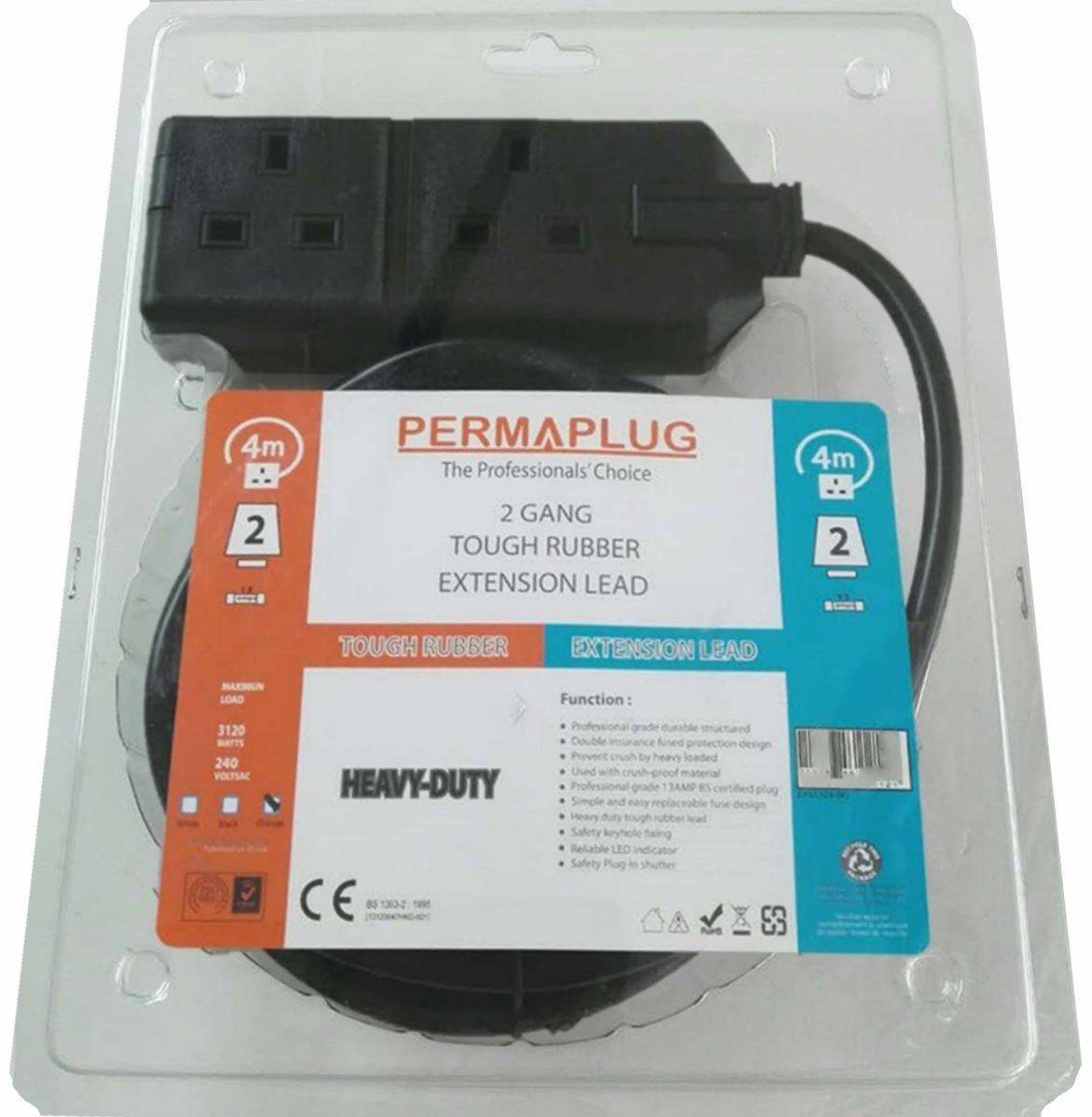 (專業版) 橡膠電拖板, 2插位, 13A, 250V, 黑色, 4米, 1.5mm²